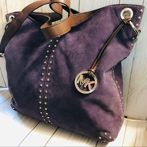Michael Kors Purple Leather and Suede Studded Bag